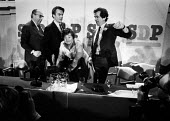 Roy Jenkins, David Owen, Bill Rogers and Shirley Williams, SDP Launch, Limehouse, London 1981. The Gang of Four leaving the Labour Party and forming a Council for Social Democracy, as they said the pa... - John Sturrock - 1980s,1981,Bill,Bill Rogers,break away,breakaway,camera,cameras,conference,Conferences,Council,David Owen,declaration,Democracy,Democratic Party,EMOTION,EMOTIONAL,EMOTIONS,FEMALE,Four,Gang,Labour Part