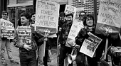 Labour Party Inquiry into Liverpool District Labour Party, Militant Tendency picket outside the AUEW Halls on the first day of the inquiry - John Sturrock - 1980s,1985,AUEW,city urban,DISPUTE,DISPUTES,EMOTION,EMOTIONAL,EMOTIONS,entryism,entryist,entryists,entyrism,expel,expelling,expulsion,expulsion expulsions,inquiry inquiries,labour party,Left,left wing