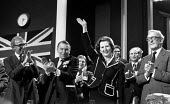Norman St John-Stevas, Francis Pym and Peter Carington applauding Margaret Thatcher Conservative Conference, 1979 - John Sturrock - 1970s,1979,applauding,applause,conference,conferences,conservative,Conservative Party,conservatives,FEMALE,flag,flags,male,man,Margaret Thatcher,men,mp,mps,national,people,person,persons,pol,pol polit
