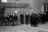 Boys waiting for roll call, Fourth of June Ceremony, Eton College 1990 - John Sturrock - 04-06-1990