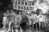 Jarrow Crusade, a protest march against unemployment, that travelled from the Northern town of Jarrow to London, on route as they approached Bedford. - John Sturrock - 29-10-1986