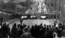 Mass picket, Cortonwood Colliery, Yorkshire - John Sturrock - ,1980s,1985,CLJ,collieries,Colliery,DISPUTE,DISPUTES,INDUSTRIAL DISPUTE,Mass,mass picket,member,member members,members,mine,miners strike miner's strike NUM,miner's strike the miners strike,mines,num,