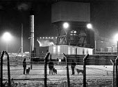Police with dogs guarding Kellingley Colliery, North Yorkshire - John Sturrock - 14-01-1985