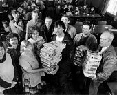 Manchester USDAW Kelloggs workers hand over £200 and breakfast cereals to striking miners kitchen, Pontefract, Yorkshire - John Sturrock - 30-12-1984