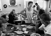 A women at the Miners welfare canteen, Great Houghton, South Yorkshire - John Smith - 1980s,1984,canteen,CANTEENS,disputes,eat eating,equal rights,equality,FEMALE,FEMININITY,feminism,feminist,feminists,food,FOODS,INDUSTRIAL DISPUTE,kitchen kitchens,member,member members,members,MINER,M