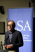 """Bill Nighy backing the """"Robin Hood"""" tax campaign at the Royal Society of the Arts. The campaign is calling on political parties in the UK to back a financial transactions tax on banks. London. - Justin Tallis - 09-03-2010"""