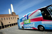 The Conservative Party's manifesto launch. Battersea Power Station, London. - Justin Tallis - ,2010,2010s,bus,bus service,BUSES,campaign,campaigning,CAMPAIGNS,coach,Conservative,Conservative Party,conservatives,DEMOCRACY,election,elections,General Election,manifesto,pol politics,service,servic