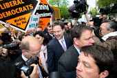 Nick Clegg surrounded by the press at a campaign event in Streatham, South London. - Justin Tallis - 03-05-2010