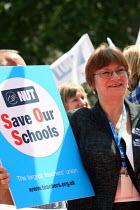 Christine Blower, NUT Gen Sec, at a rally against education cuts. London. - Justin Tallis - 19-07-2010