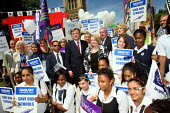 Ed Balls MP with pupils and teachers rally against education cuts. London. - Justin Tallis - 19-07-2010