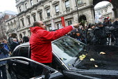 Bentley Arnage car driver gets out and shouts at students. The driver tried to barge through an impromptu march by students who walked out in protest against plans to raise tuition fees and cuts in un... - Justin Tallis - ,2010,2010s,activist,activists,AFFLUENCE,AFFLUENT,against,anger,angry,argue,arguing,argument,Austerity Cuts,barge,Bourgeoisie,CAMPAIGN,campaigner,campaigners,CAMPAIGNING,CAMPAIGNS,communicating,commun