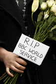 RIP BBC World Service. Protest outside Bush House against BBC plans to cut hundreds of jobs in BBC World Service. - Justin Tallis - 2010s,2011,activist,activists,against,BBC,bbc world service,CAMPAIGN,campaigner,campaigners,CAMPAIGNING,CAMPAIGNS,DEMONSTRATING,DEMONSTRATION,demonstration trade union,DEMONSTRATIONS,disputes,end of,F