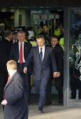 Tony Blair leaving The Queen Elizabeth II Conference Centre after giving evidence to the Chilcot inquiry into the Iraq war. London. - Justin Tallis - ,2010s,2011,Chilcot,Conference,conferences,evidence,giving,inquiry,iraq,Labour Party,leaving,pol politics,Queen,war