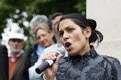 Priti Patel, Conservative MP, speaking at a rally against debt in Westminster. London. - Justin Tallis - 14-05-2011