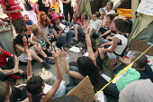 A meeting taking place in as protesters occupy Puerta del Sol square in a protest against austerity cuts, Madrid. - Justin Tallis - 21-05-2011
