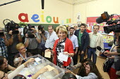 President of Madrid, Esperanza Aguirre of the Peoples Party, posing for photographers at Colegio Pi I Margall as she votes in Spains regional elections. Madrid. - Justin Tallis - 22-05-2011