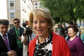 President of Madrid, Esperanza Aguirre of the Peoples Party, leaving Colegio Pi I Margall after shed voted in Spains regional elections. Madrid. - Justin Tallis - 22-05-2011