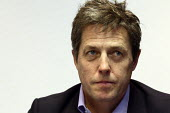 Hacked Off campaigner Hugh Grant at a press conference during the Liberal Democrats Conference. Birmingham. - Justin Tallis - 18-09-2011