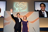 Ed Miliband MP with wife Justine on stage after his leaders speech at the Labour Party Conference. Liverpool. - Justin Tallis - 27-09-2011