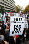 Free education tax the rich. National Campaign Against fees and cuts student protest. London. - Justin Tallis - 09-11-2011