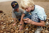 Pupils from Stratford County Primary School are learning about different types of rocks on a beach. The year six pupils are on a residential trip to the Isle of Wight - Justin Tallis - 27-06-2005