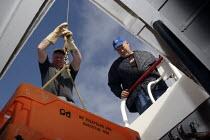 On board a fishing trawler in the Irish Sea. The four-man crew work on one of the last remaining trawlers in Fleetwood, Lancashire. - Justin Tallis - 23-10-2006