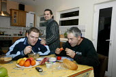 Slovak men eating their dinner before a night shift. - Justin Tallis - 19-11-2006