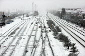 Snow covered tracks on the railway lines into Newport Station, South Wales. - Justin Tallis - 09-02-2007