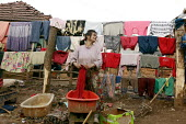Woman washing her families clothes. An impoverished Roma Gypsy community, that has no running water and so sanitation is poor. Situated in the town of Jibou, in Romania. - Justin Tallis - 2000s,2007,BAME,BAMEs,basin,basins,bathtub,bathtubs,BME,bme minority ethnic,bmes,bucket,buckets,chore,chores,cleaning,cleansing,communities,community,diversity,domestic,dry,drying,duties,duty,dwelling