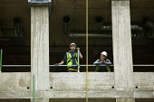 Construction workers on a building site in central London. - Justin Tallis - 09-09-2008