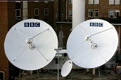 BBC satellite dishes at Television Centre. Shepherds Bush, West London. - Justin Tallis - 29-10-2008