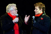 Rolf Harris and Ben Shepherd talking at Armistice Day in Trafalgar Square to remember all those whose lives have been lost through war and armed conflict. London. - Justin Tallis - 11-11-2008