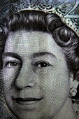HM The Queen's head on a twenty pound bank note. - Justin Tallis - 20,2000s,2008,2nd,bank,bank of England,banking,banknote,banknotes,banks,close,commerce,crown,currency,EBF Economy,economic,economy,Elizabeth,england,english,eye,eyes,face,FACES,head,icon,iconic,Monarc