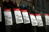 Price reduction labels. Half price suits for sale. Banbury. - Justin Tallis - ,2000s,2008,apparel,bought,buy,buyer,buyers,buying,buys,cheap,clothes,clothing,commodities,commodity,consumer,consumers,Credit Crunch,customer,customers,discount,discounted,DOWNTURN,EBF Economy,goods,