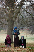 Young Muslim women praying in Hyde Park. London. - Justin Tallis - 10-01-2009