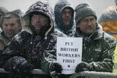 British jobs for British workers. Wildcat Strikes at Lindsey oil refinery in protest of jobs being given to foreign workers. Immingham, Lincolnshire. - Justin Tallis - 02-02-2009