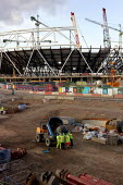 Building work continues on the site of the 2012 Olympic Stadium. Stratford, East London. - Justin Tallis - 02-03-2009