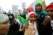 Ethiopian protestors outside London G20 Summit, Excel Centre. - Justin Tallis - 02-04-2009