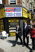Ed Fordham, Liberal Democrat Parliamentary Candidate for Hampstead and Kilburn, out in Kilburn with party leader Nick Clegg. Walking past a pawn shop. London. - Justin Tallis - 2000s,2009,campaign,campaigning,CAMPAIGNS,Candidate,CANDIDATES,cash,cities,city,clegg,debt,debts,DEMOCRACY,Democrat,democrats,deposit,election,elections,eu,European,europeans,Kilburn,leader,Lib Dem,Li