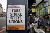 "Evening Standard headline. ""Tube Strike Splits Unions"". RMT tube strike. London. - Justin Tallis - 2000s,2009,adult,adults,buy,buyer,buyers,buying,commodities,commodity,COMMUTE,commuter,commuters,COMMUTING,commuting journey to from work lfl lifestyle,disputes,EARNINGS,Evening,goods,headlines headli"
