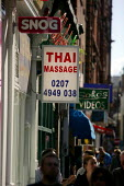 Thai massage parlor. Soho, London. - Justin Tallis - 2000s,2009,area,asian,asians,bigotry,brothel,brothels,cities,city,common,communicating,communication,Diaspora,DISCRIMINATION,district,EARNINGS,EBF,Economic,Economy,employee,employees,Employment,equal,