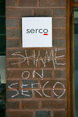 Shame on SERCO protest, SERCO HQ in support of hunger strike at Yarls Wood Immigration Centre. Holborn, London - Justin Tallis - 19-06-2009