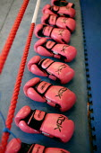 Pink boxing gloves. Times ABC Boxing Club. Islington, London. - Justin Tallis - 2000s,2009,amateur,box,boxer,boxes,boxing,centre,club,clubs,energetic,exercise,exercises,exercising,female,females,fighter,fighters,fit,fitness,getting,girl,girls,gloves,gym,gymnasium,gyms,hit,hitting
