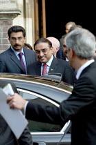 President Asif Ali Zardari, President of the Islamic Republic of Pakistan, leaving the International Institute for Strategic Studies (IISS). London. - Justin Tallis - 18-09-2009