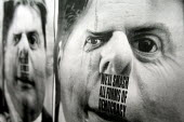 Anti BNP posters give Griffin a Hitler moustache, Questioning Question Time emergency public rally. UAF host a public meeting challenging the BBC's decision to invite BNP leader Nick Griffin onto the... - Justin Tallis - 21-10-2009