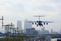 A plane landing at London City Airport. - Justin Tallis - 09-10-2009