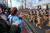 Soldiers of the Second Battalion, the Royal Regiment of Fusiliers are granted the Freedom of the Borough as they march through Hounslow after returning from Afghanistan. London. - Justin Tallis - 26-11-2009