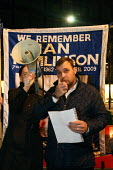 Paul King speaking at a candlelit vigil outside the Royal Exchange. Ian Tomlinson was killed during G20 protests in April 2009. London. - Justin Tallis - 01-12-2009