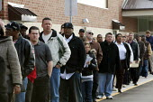 Michigan - The unemployed of Detroit queue to apply for 200 jobs at a new Meijer store. - Jim West - 2010,2010s,African American,African Americans,African-American,America,application,apply,applying,BAME,BAMEs,black,BME,bmes,cultural,Detroit,diversity,DOWNTURN,EARNINGS,EBF,Economic,Economy,employee,e