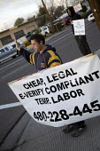 Mesa, Arizona, USA A temporary labor firm in the Phoenix area advertising cheap, legal, temporary workers. Under a new Arizona law, employers can have their business licenses suspended or revoked if t... - Jim West - 25-01-2008